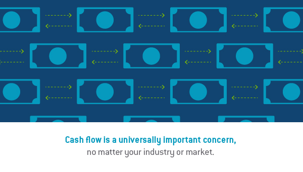 "Graphic design image of cash with arrows indicating cash flow and the words, ""Cash flow is a universally important concern. no matter your industry or market."""