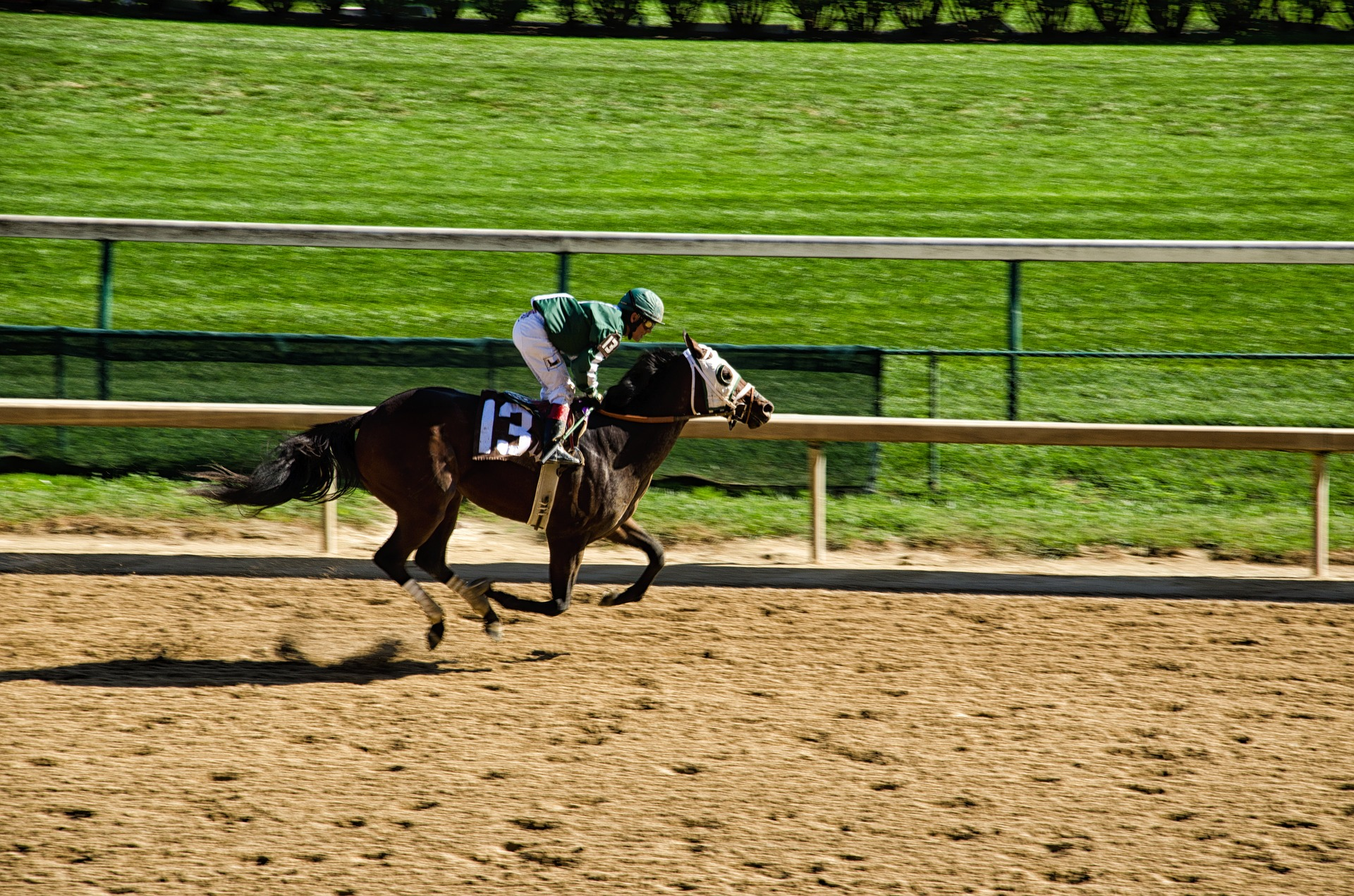 Man on on a horse racing in Louisville Kentucky at Churchill Downs - TAB Bank