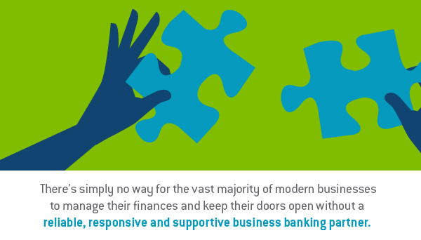 graphic design image depicting two hands and two puzzle pieces - TAB Bank