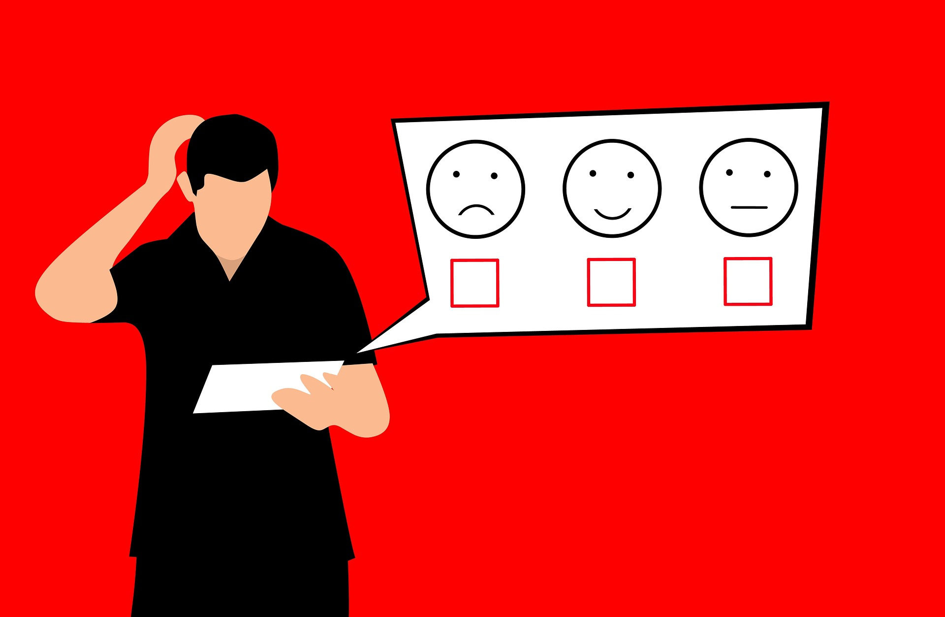 graphic image representing a man rating an experience with bad, neutral and good images represented by facial expressions - TAB Bank