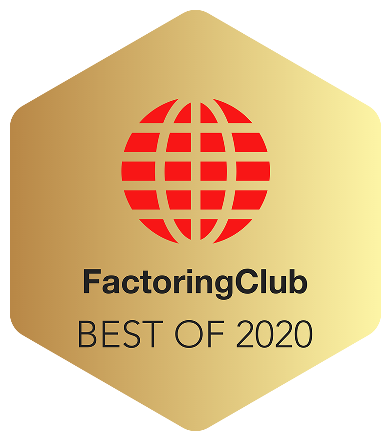 FactoringClub Best of 2020 logo - gold hexagon with a red ball bisected with lines |TAB Bank