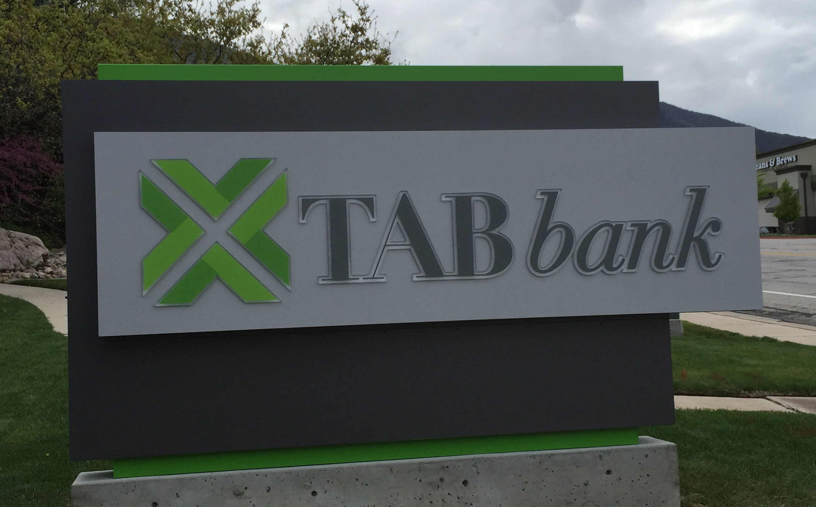 Picture of TAB Bank signage outside of building