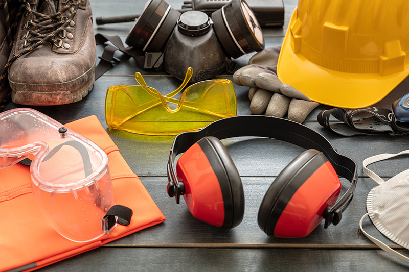 Image of work safety gear including gloves, vest, hard hat, eyewear, etc | TAB Bank