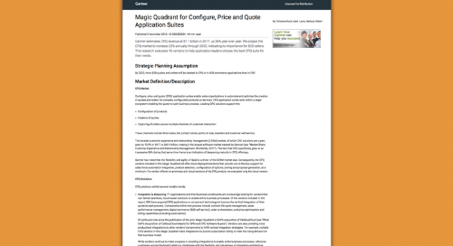 "Gartner Magic Quadrant für ""Configure, Price and Quote Application Suites"", November 2018"