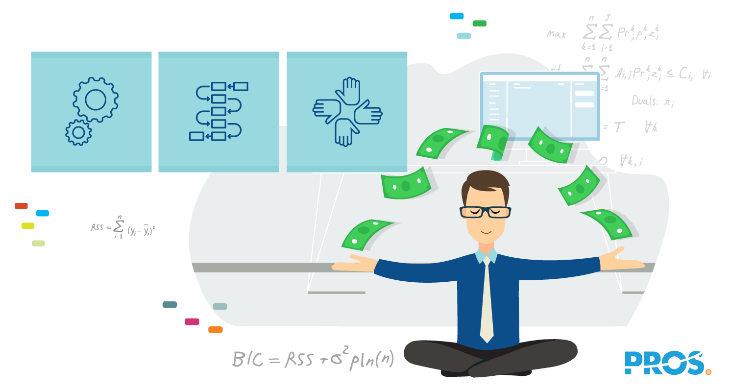 Vector illustration depicting how airline revenue management makes an analyst's life easier