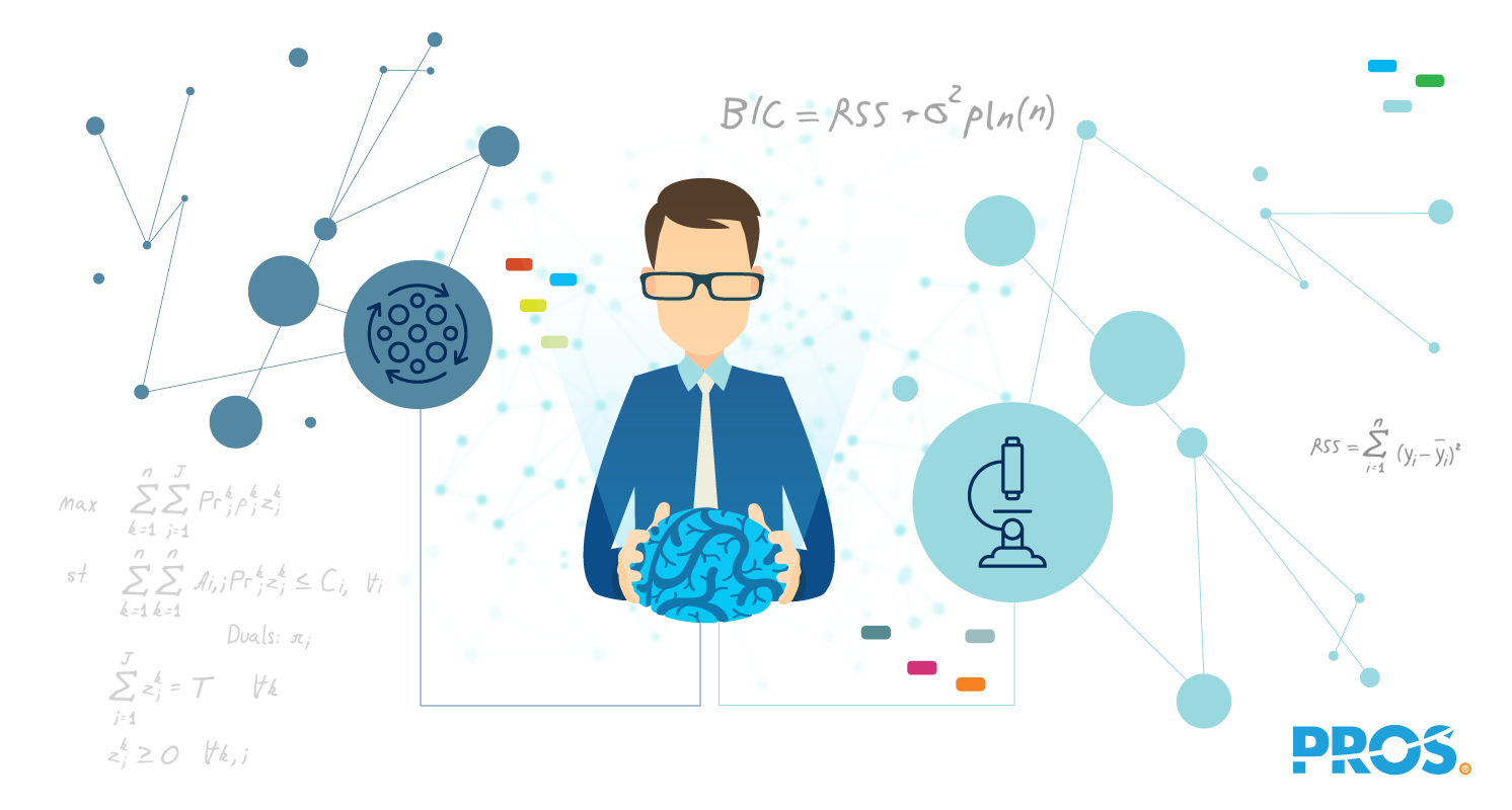 Vector illustration of analyst holding a brain and thinking about data