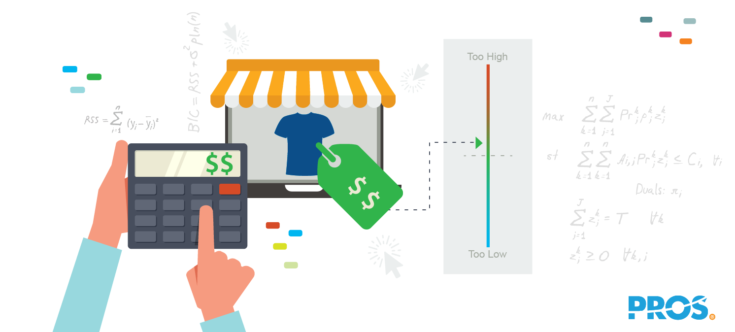 Vector illustration of a person holding a calculator, considering retail markup prices