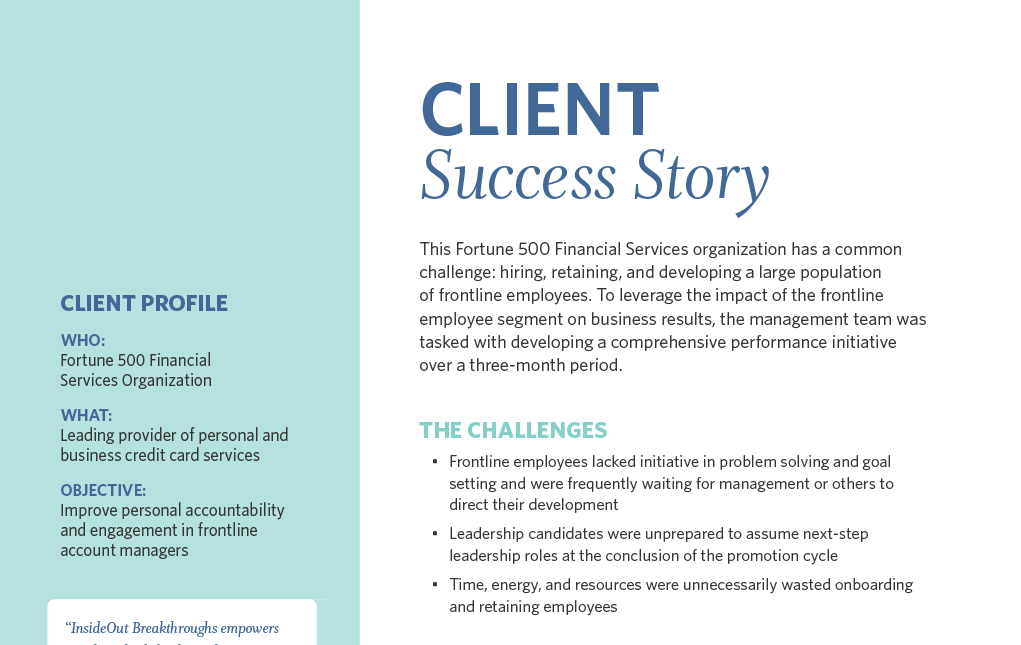 Improved Front-line Employee Engagement: A Financial Industry Success Story