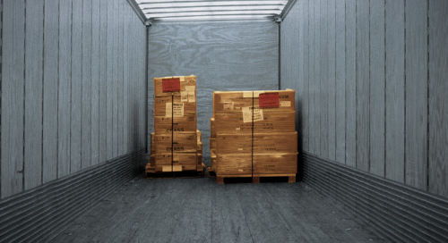 Two pallets in an LTL dry van trailer