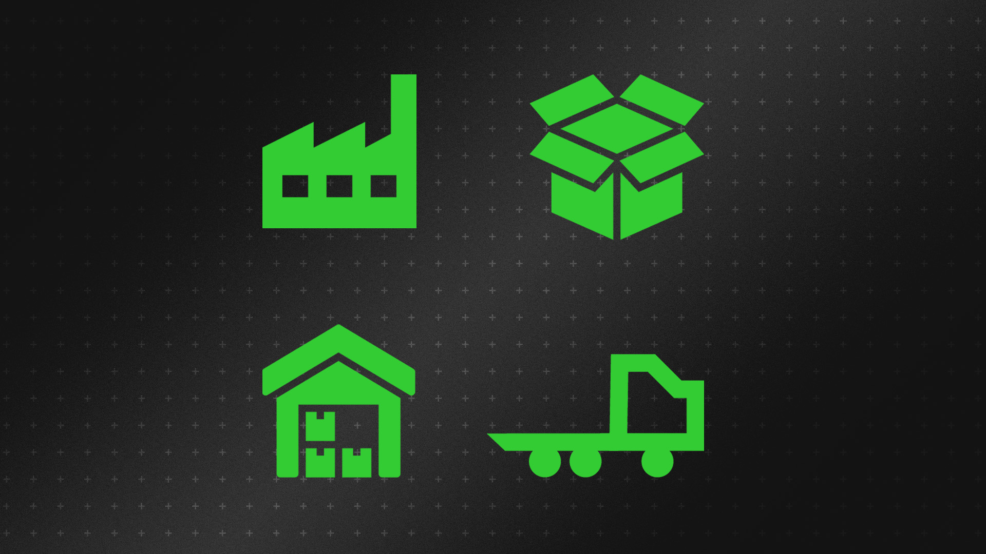 Icons depicting warehousing, transportation, manufacturing and procurement