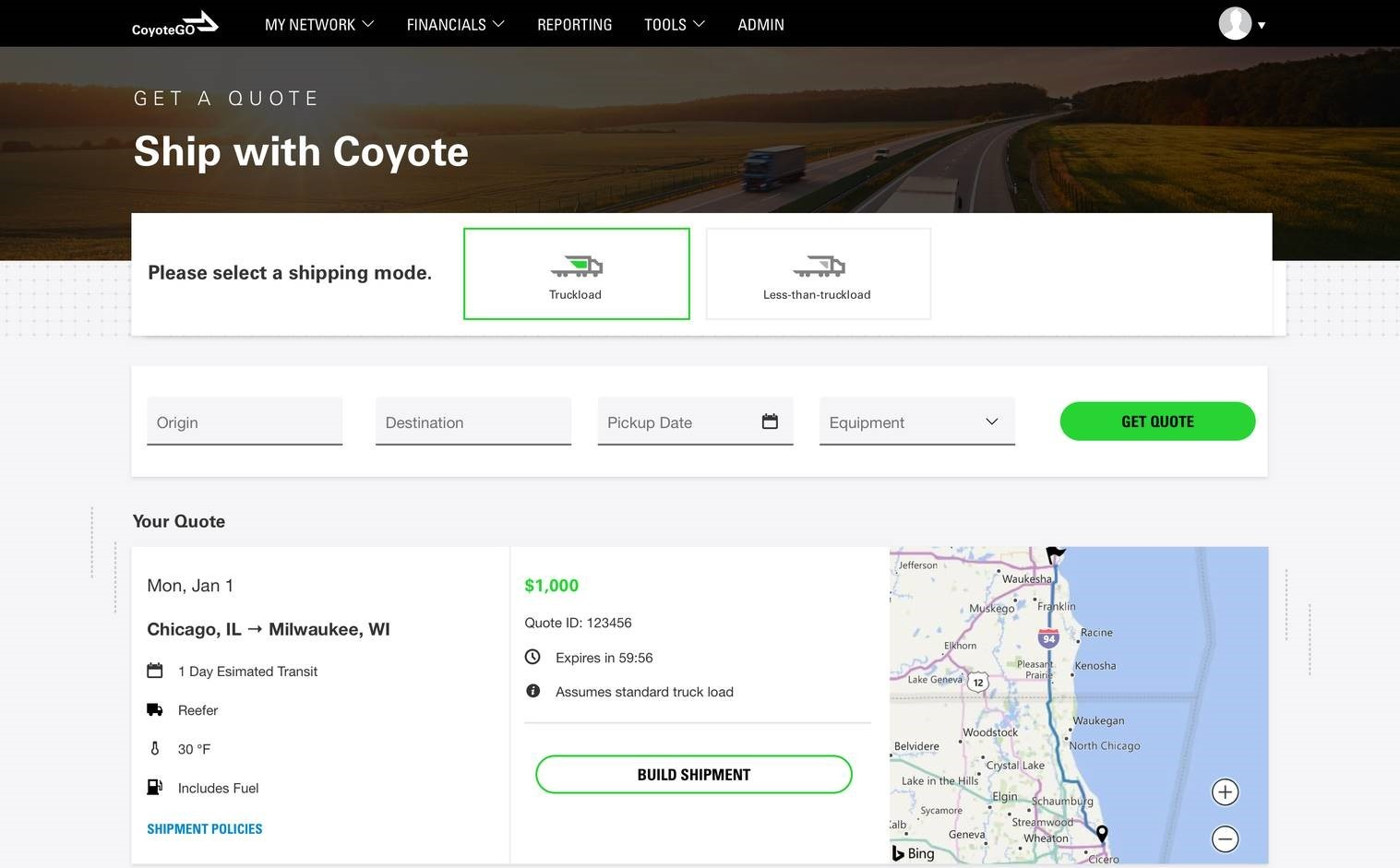 CoyoteGO Get a Shipment Quote