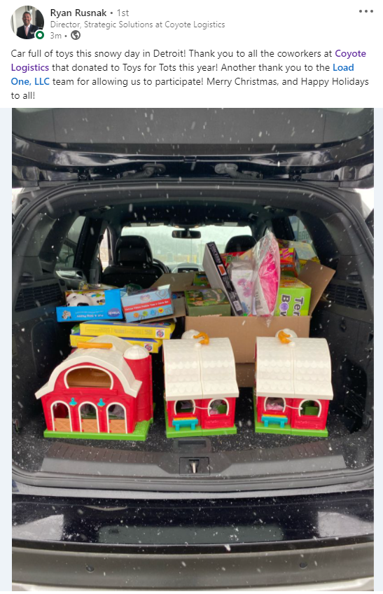 Coyote Logistics delivers toys for Load One's toy drive