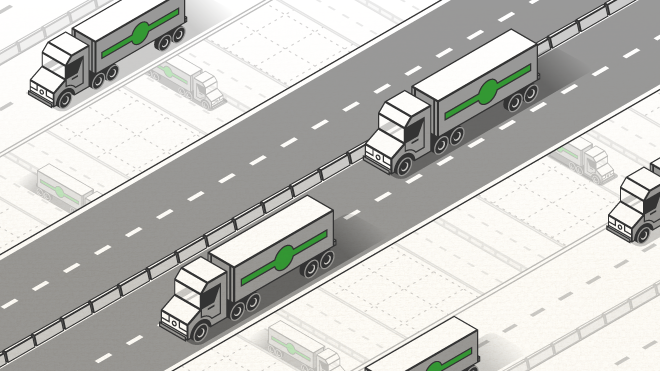 Graphic of semi-truck driving down a road