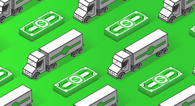Truck and money graphic symbolizing spot rates and quoting