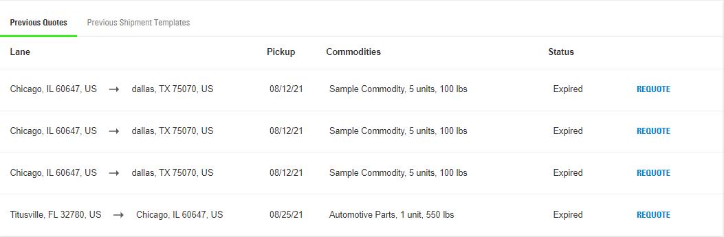 requote a previous shipment