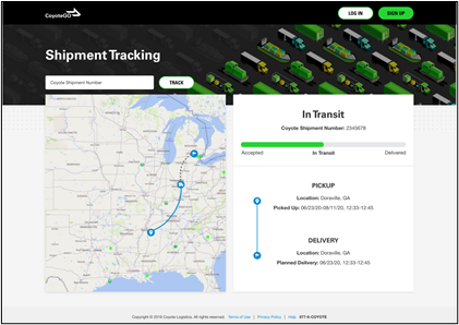 public tracking display with map