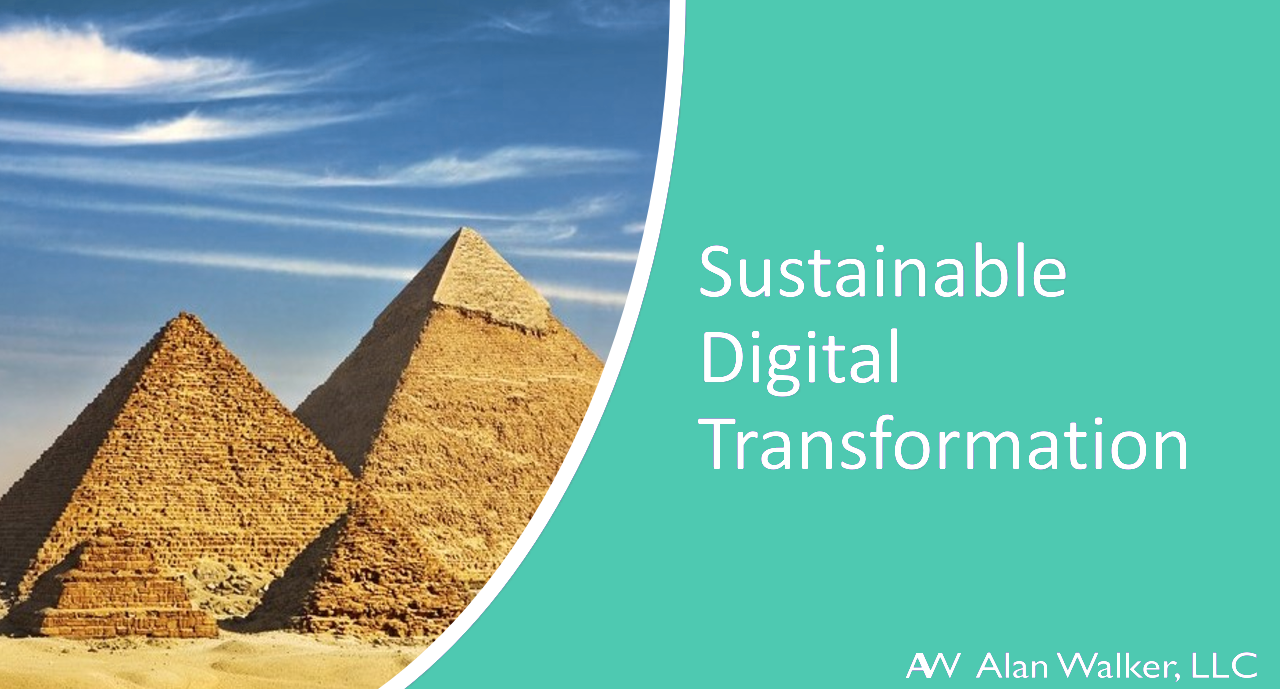 "Image of pyramids with text that says ""Sustainable Digital Transformation"" and logo for Alan Walker LLC"