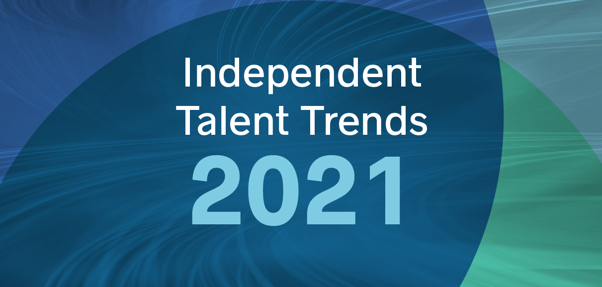 Text that says Independent Talent Trends 2021 against a backdrop of multicolored circles overlaying speed motion lines