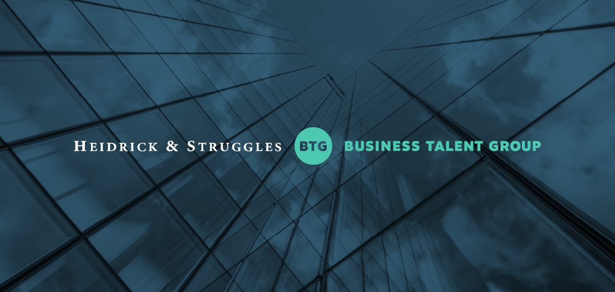 Heidrick & Struggles and Business Talent Group logos on background image of skyscrapers