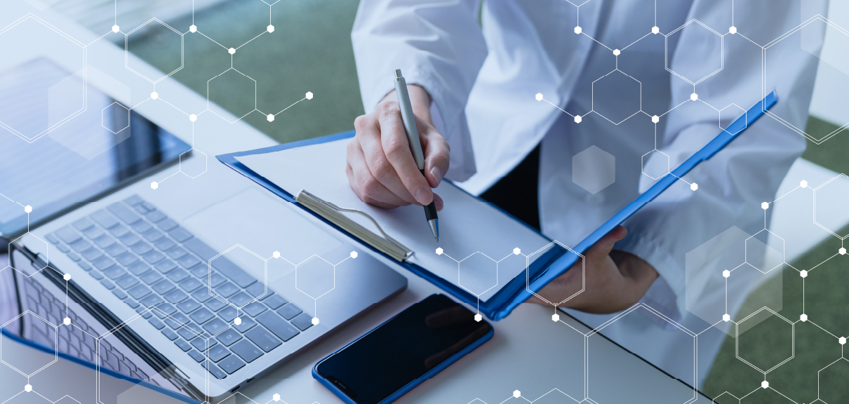 Flexible Project Management for Pre-Clinical and Clinical Drug Development - Clinical trial project manager with clipboard and laptop
