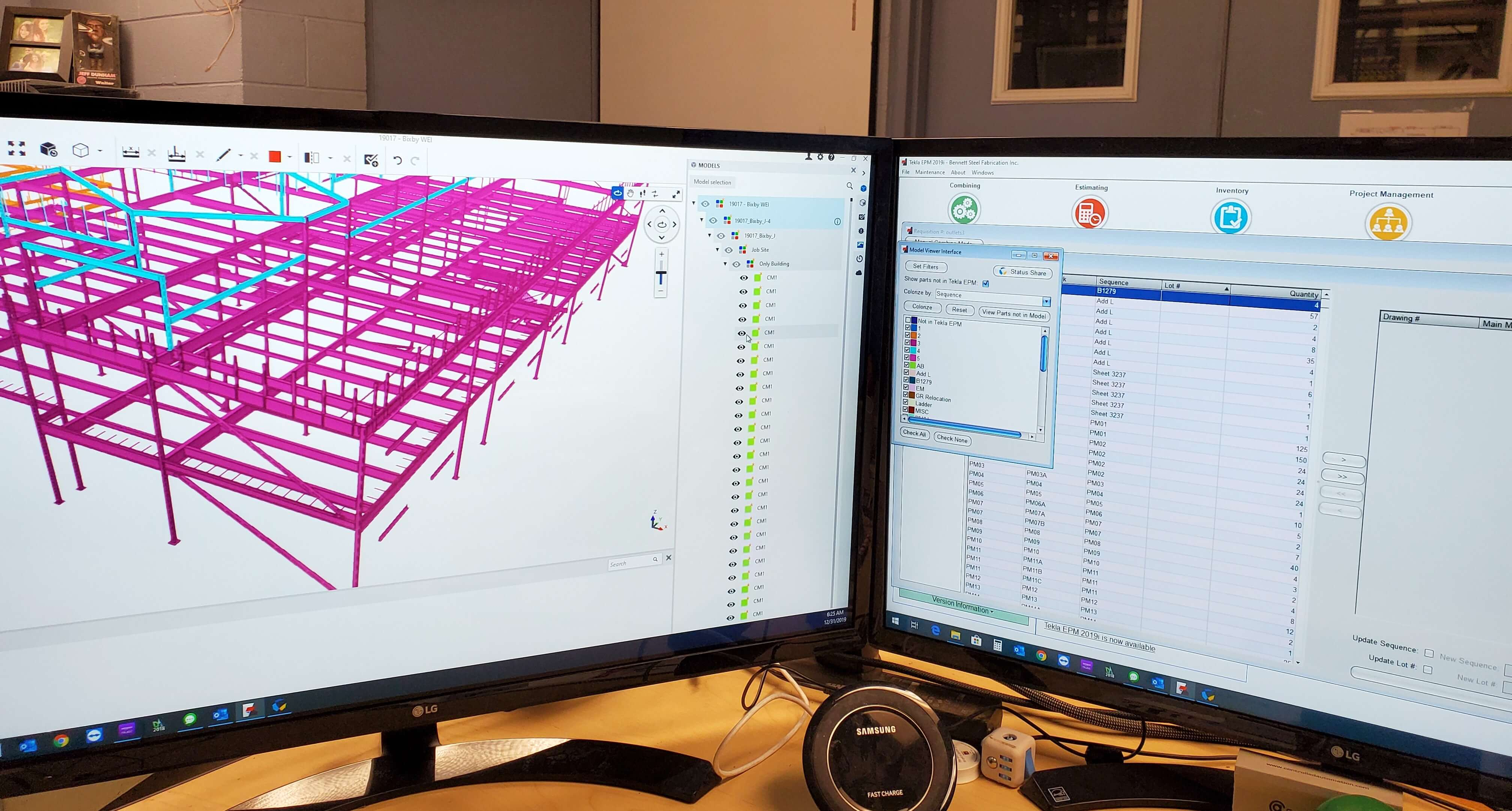 Two monitors, one displays Trimble Connect model the other displays Tekla EPM