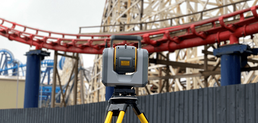 """The Big One"" at Blackpool Pleasure Beach, behind a Trimble SX10"