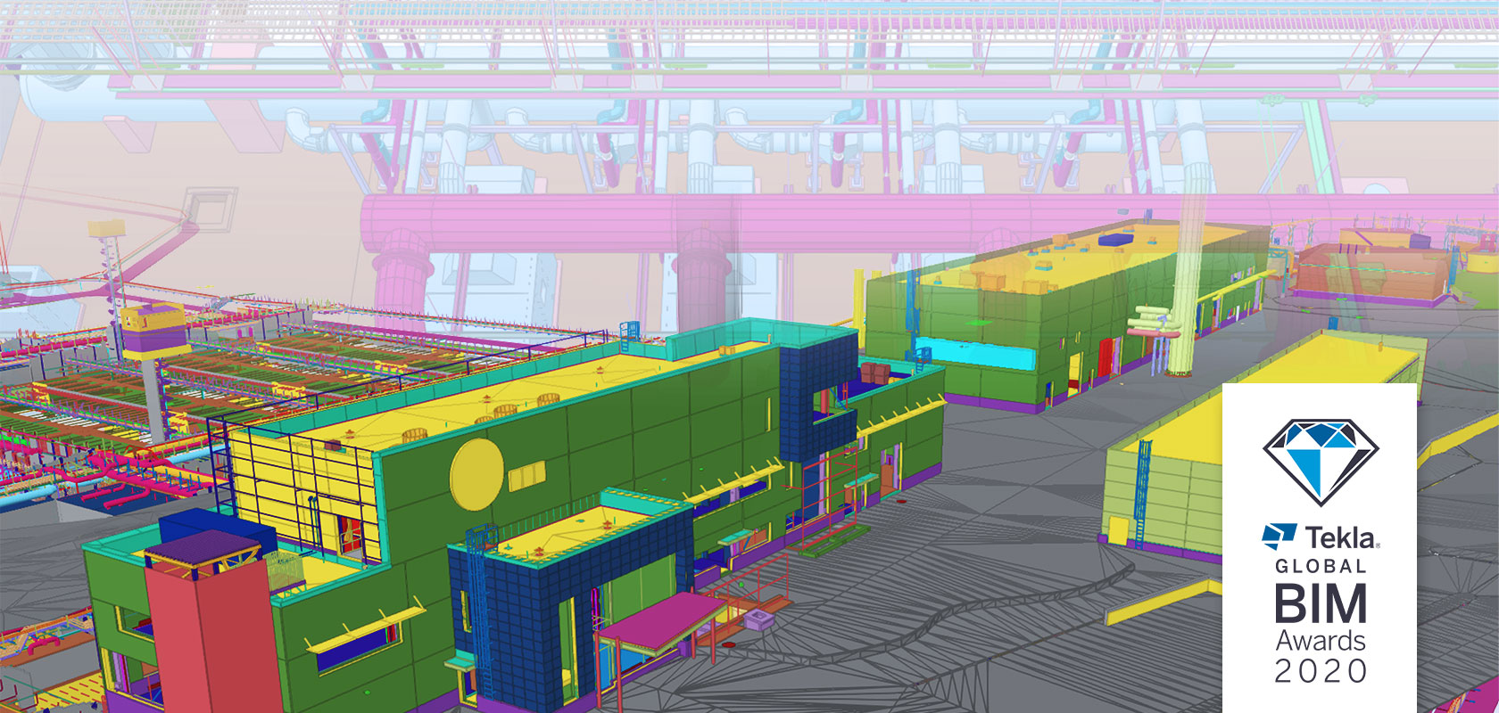 Tekla Structures model view of Blominmäki wastewater treatment plant