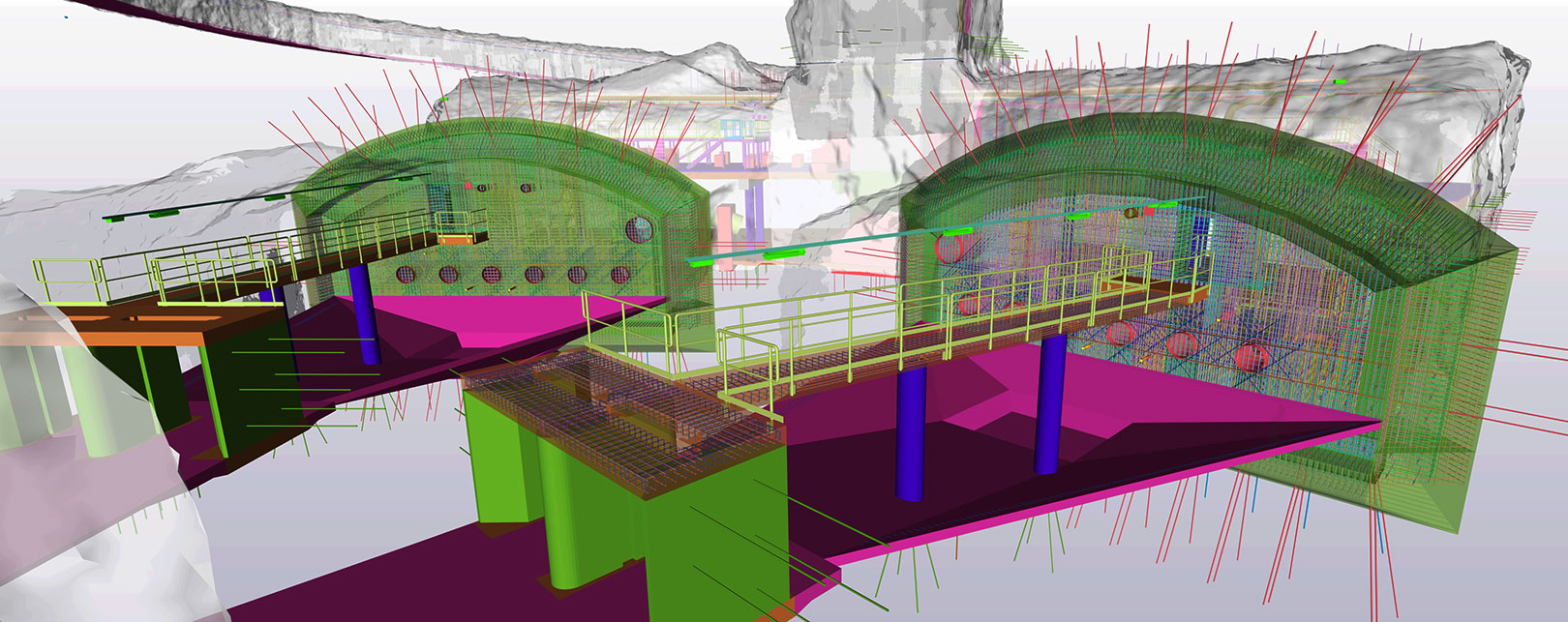 3D model underground structure of Blominmäki wastewater treatment plant