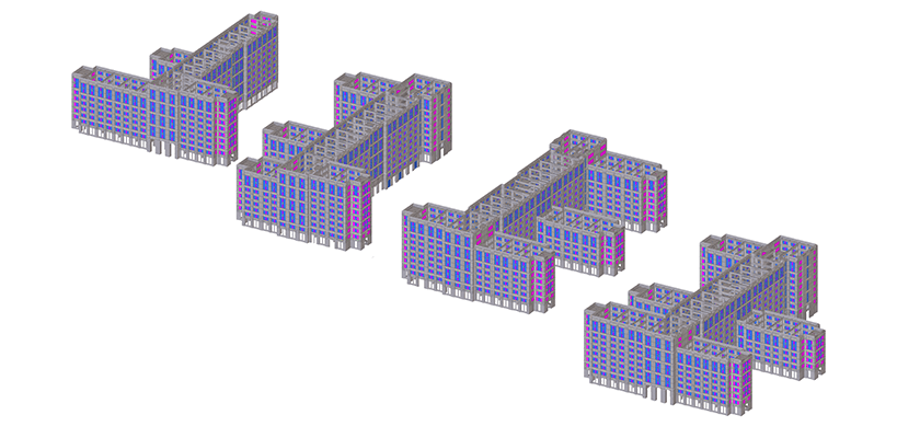 Precast concrete panels in the Tekla Structures model of Escondido Village Graduate Housing