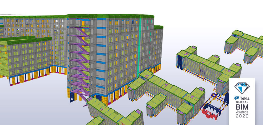 Tekla Structures model of Escondido Village Graduate Housing with Tekla Global BIM Awards 2020 logo