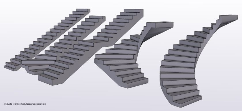 The Concrete Stair tool makes working with stairs of any shape straightforward.
