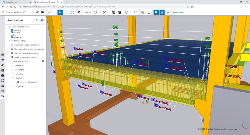 The early version of the 3D annotation tool gives you ability to show 2D drawing data, such as dimensions, in a 3D model.