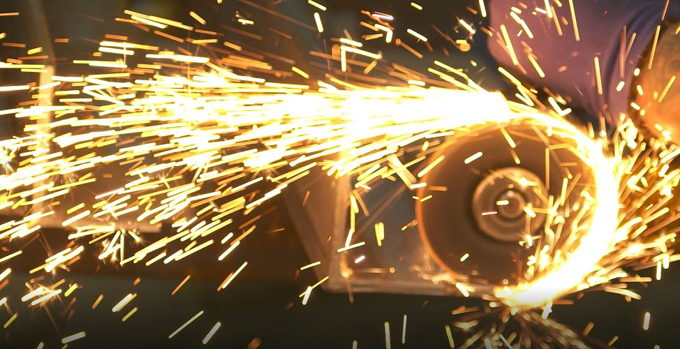 sparks flying from steel fabrication
