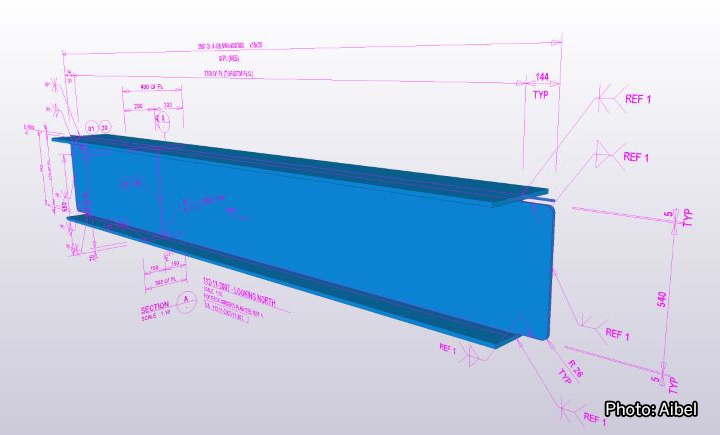 Model image of a girder with dimensions. Photo: Aibel