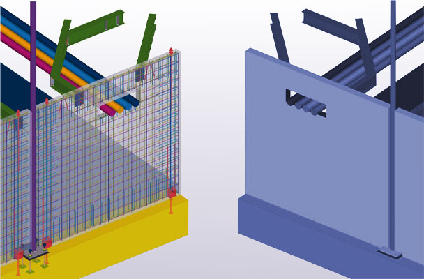 Two building information models (BIM) with different level of development (LOD)