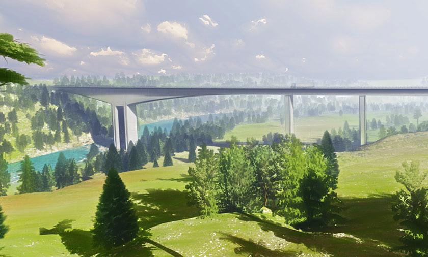 Big concrete bridge crossing a river in a forest