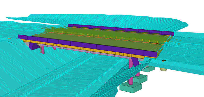 Tekla Structures model of the bridge on Highway 4 in Kirri-Tikkakoski