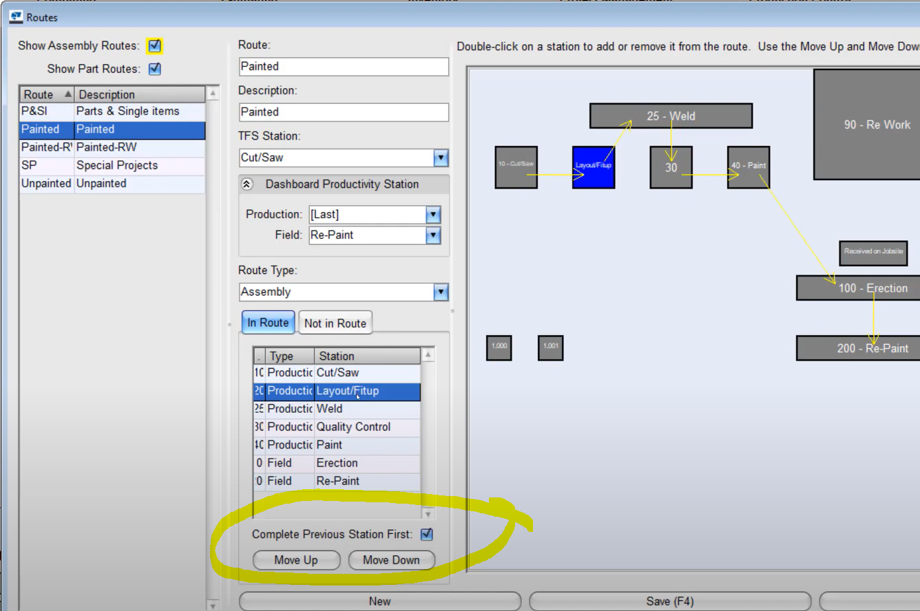 Ensure consistency in traceability in production routing