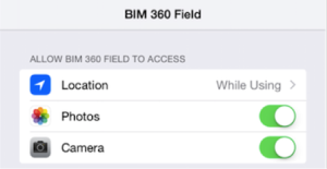 BIM 360 Field for iPad Location Info