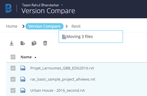 Autodesk BIM 360 Team Move Files Version Compare