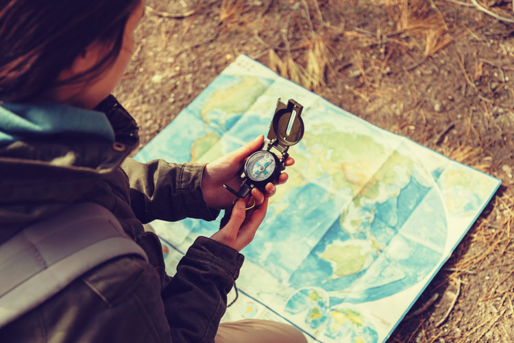 Woman, Compass, Map