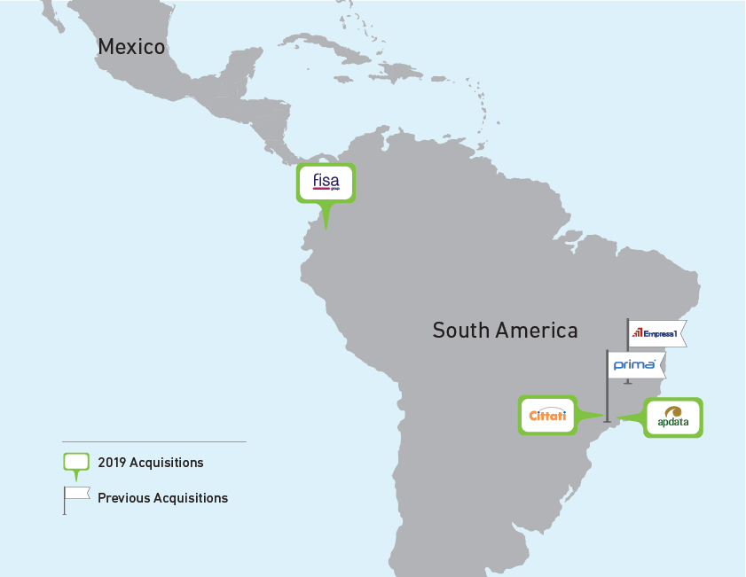 Map showing all acquisitions by Volaris Group in Latin America updated for 2019
