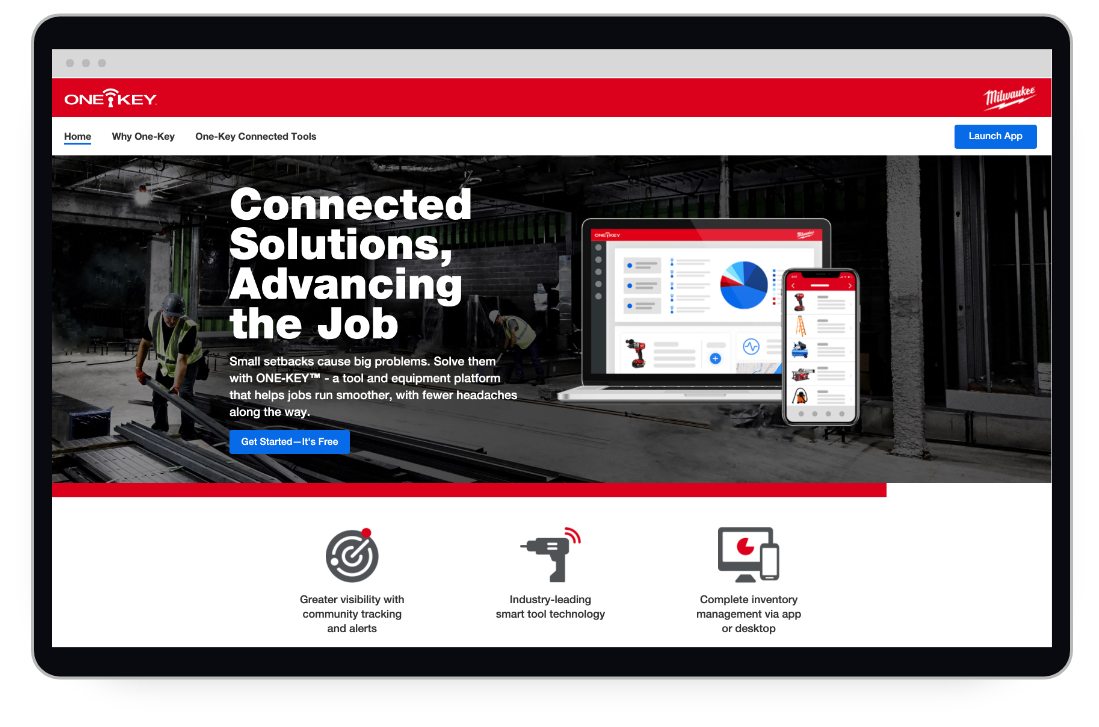 A screen shot showing the new website for Milwaukee Tool's inventory management and Bluetooth tracking app