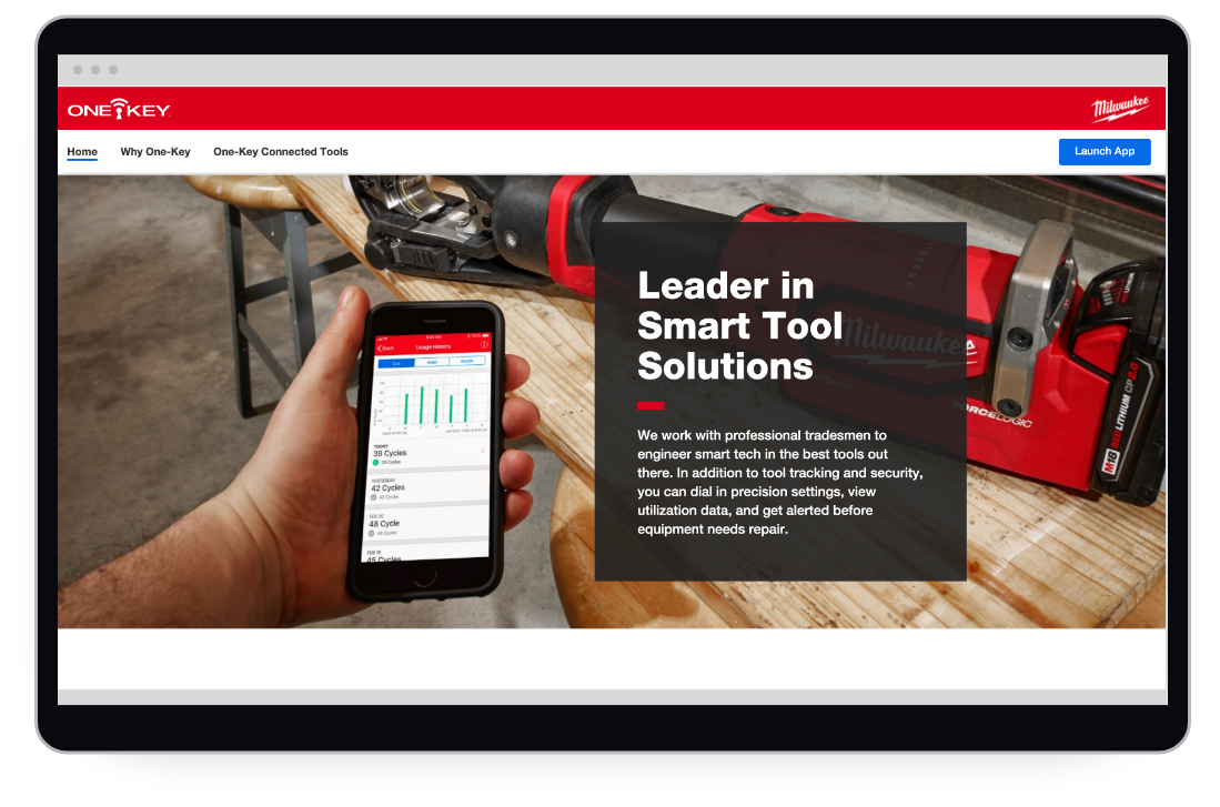 Screen shot shows a section of Milwaukee One-Key's homepage highlighting smart tool solutions as industry-leading