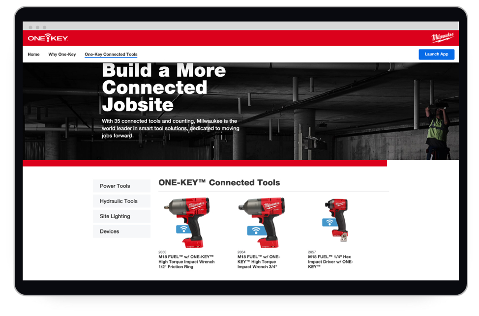 A screen shot of a product page displaying Milwaukee One-Key compatible tools