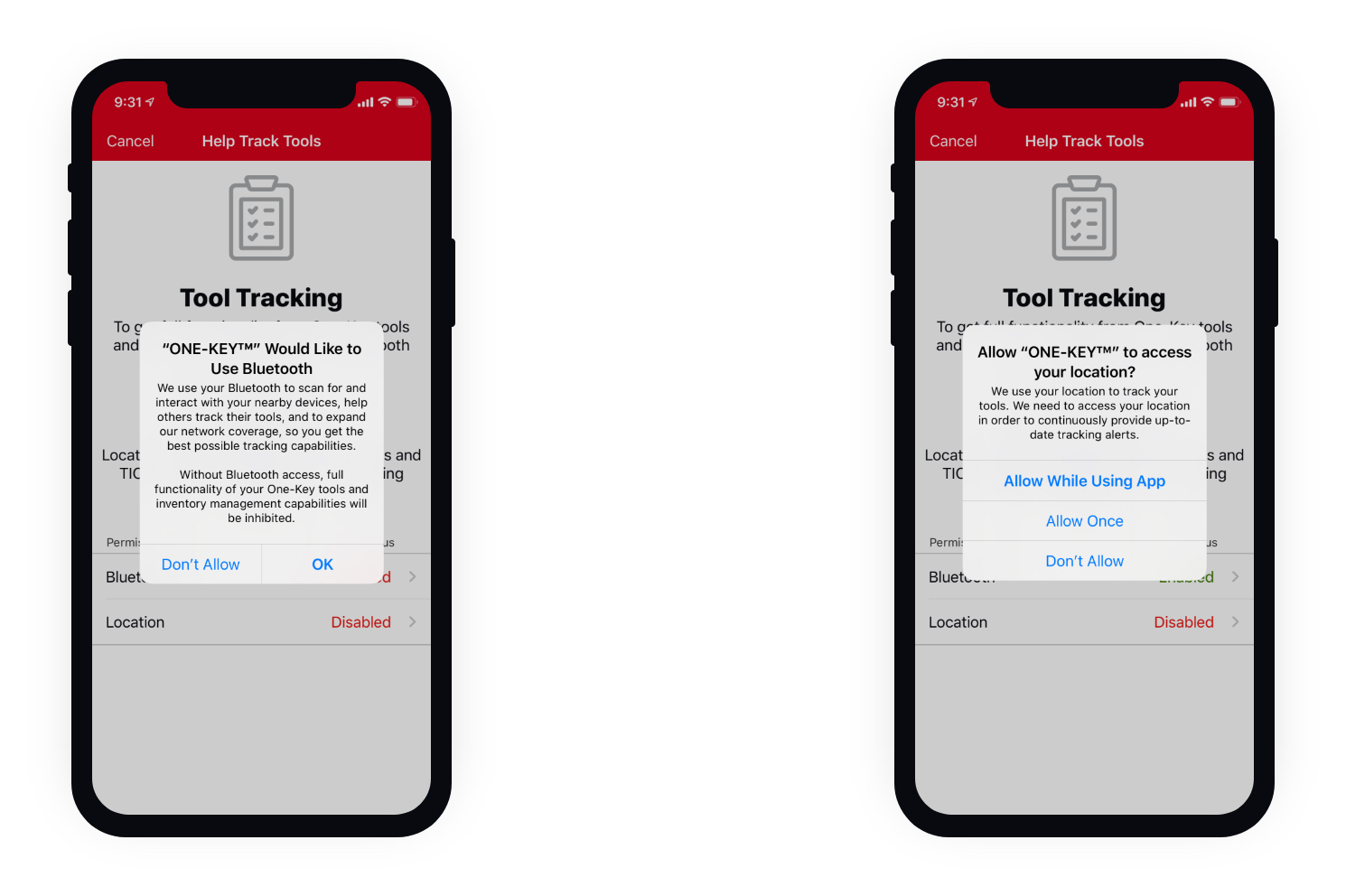 Two mobile devices using tool tracking app display bluetooth and location system prompts
