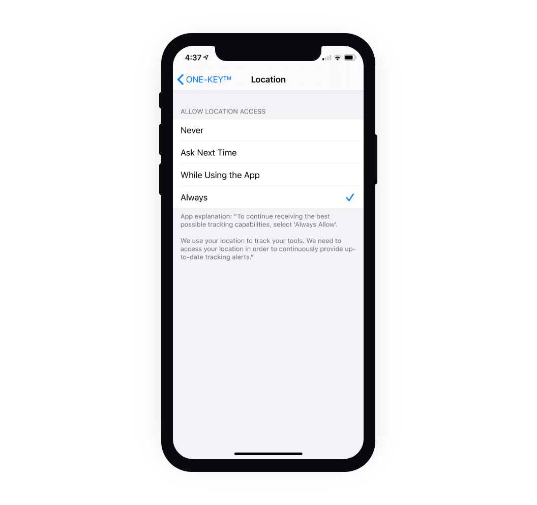 Mobile phone settings set to Always Allow location access