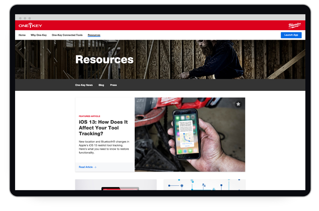 The main page of a resources page on tool tracking