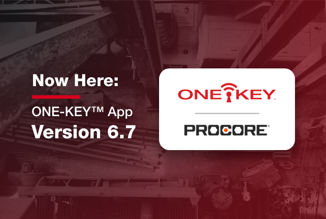 The One-Key app software update adds Procore construction management integration and support for sewer drum machine