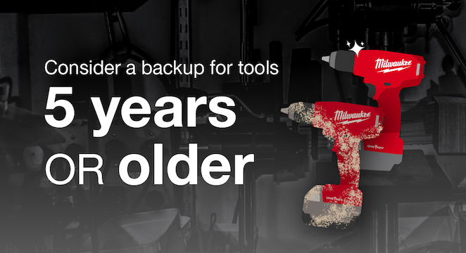 If your construction tools are over 5 years old, consider purchasing backups to prevent downtime in the event of tool failure